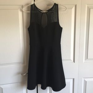 Black formal dress with sheer neck